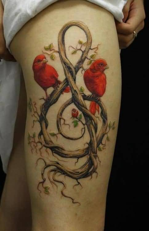 Fantastic Sweet Colorful Feminine Bird Tattoo Design Make On Thigh