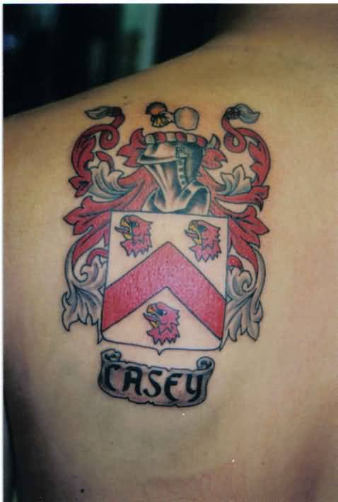 Fantastic Upper Side Back Tattoo Of Family Crest