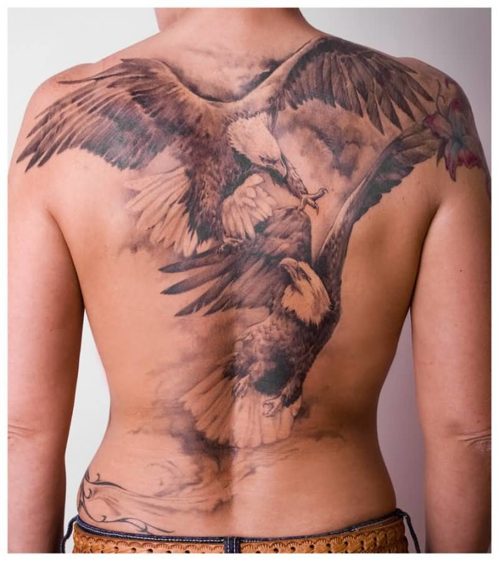 Full Back Cover Up With Outstanding Flying Big Eagle Tattoo