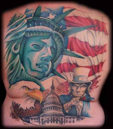 Full Back Cover Up With Outstanding Statue With Eagle Design With Famous Flag Tattoo