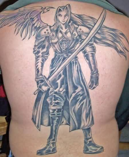 Full Back Cover Up With Simple Angry Fantasy Warrior Tattoo