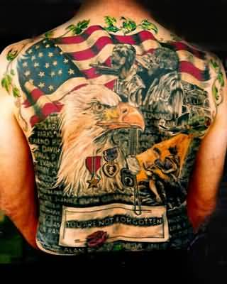 Full Back Decorated With Angry Eagle And Famous American Flag Tattoo