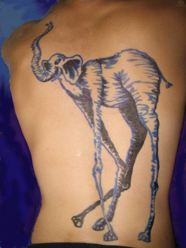 Full Back Decorated With Outstanding Dali Elephant Tattoo