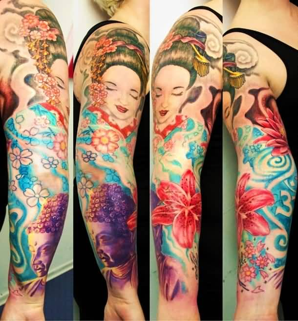 Full Sleeve Decorated With Famous Young Girl Face And Nice Colorful Flower Tattoo