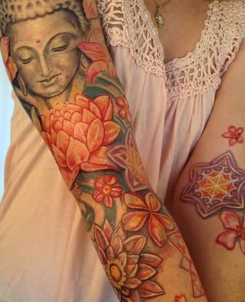 Full Sleeve Women Colorful flower And Popular Buddha Tattoo