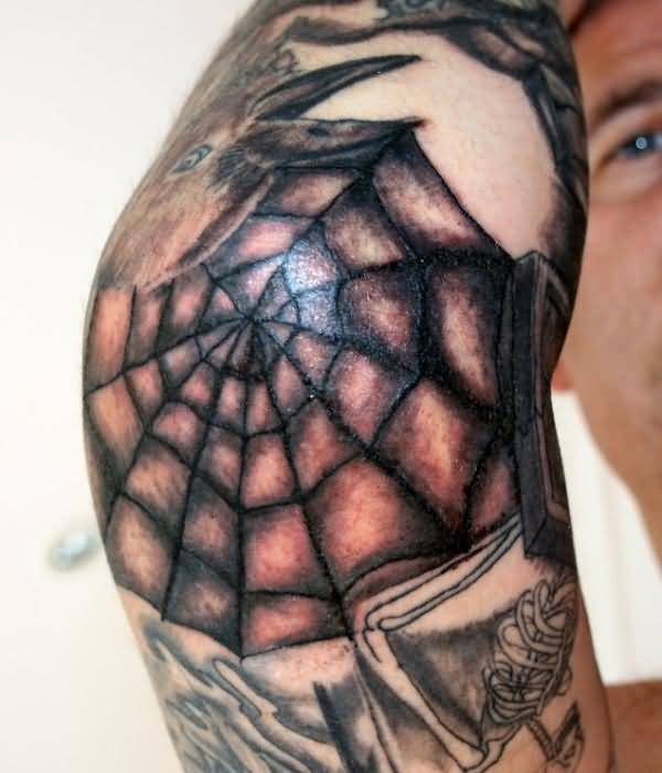04b48ceaf Funky Men Elbow Cover Up With Outstanding Spider Web Tattoo