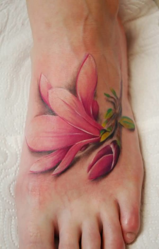 Great Pink Flower Foot Tattoo Design For Young Women