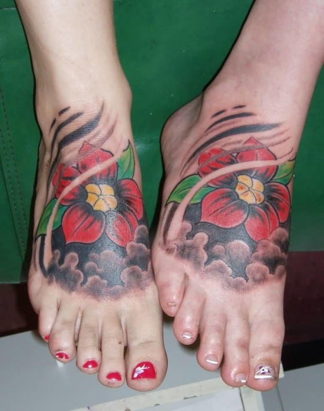 Great Red Flower Foot Tattoo Design For Couple Girls