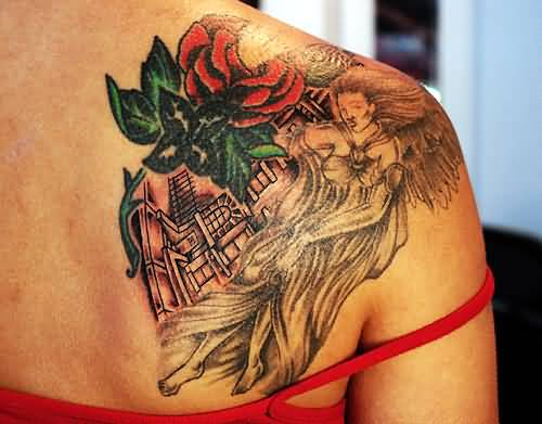 Great Upper Side Back Crazy Angry Girl And Nice Flower Tattoo For Young Hot Women