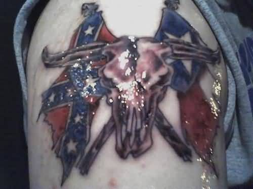 Handsome Cool Men Show Cowboy Skull With Nice flag Tattoo
