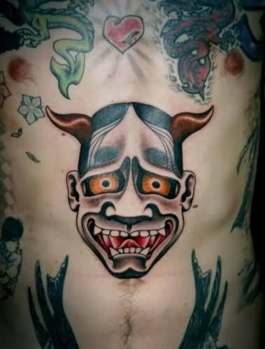 37ed02384 Handsome Cool Men Show Scary Devil Tattoo Design Make On Stomach