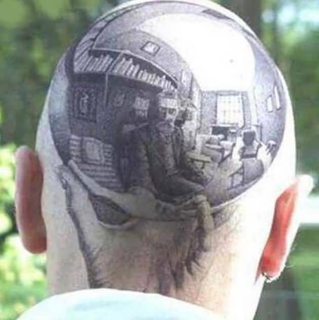 Handsome Cool Men Show Wonderful Extreme Tattoo On Head Back