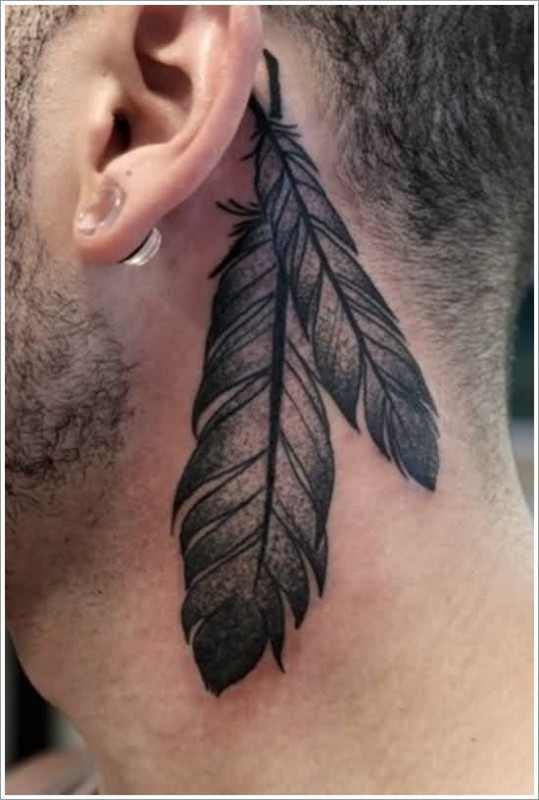 Handsome Cool Men Show Wonderful Feather Tattoo Make On Behind Ear