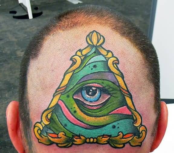 Handsome Cool Men Show Wonderful Traditional Triangle Eye Tattoo Design Make On Head Back