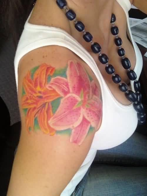 Hot Girl Upper Sleeve Colorful Feminine Flowers Tattoo Design Made By Perfect Artist