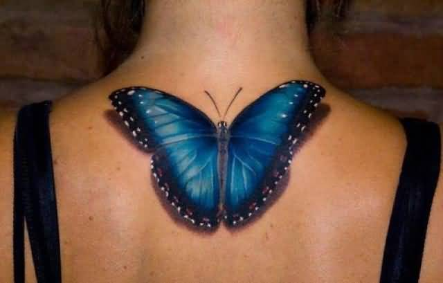 Incredible 3D Blue Feminine Butterfly Tattoo On Upper Back For Women