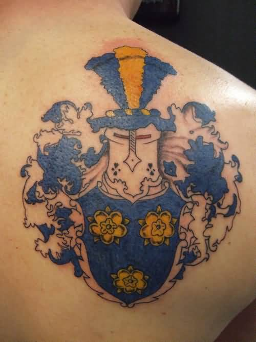 Incredible Upper Back Cover Up With Outstanding Family Crest Tattoo