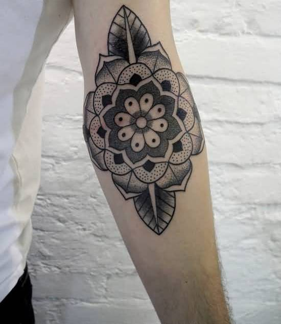 Inner Elbow Cover Up With Stunning Classy Flower Tattoo