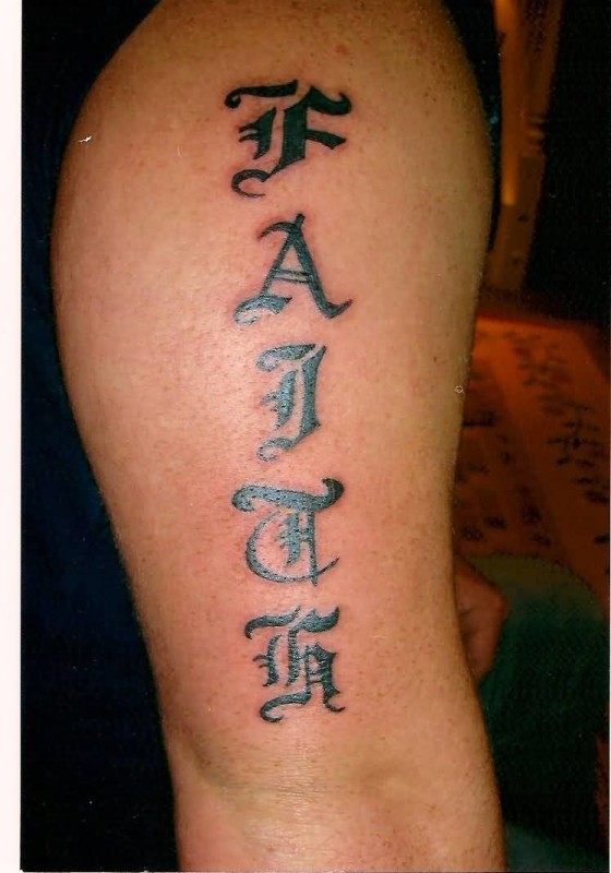 Innovative Ambigram Font Faith Tattoo On Upper Sleeve