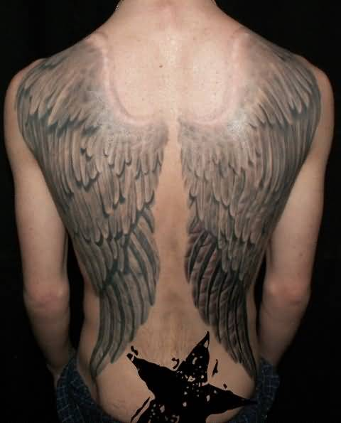 Innovative Full Back Decorated With Awesome Fantasy Big Wings Tattoo