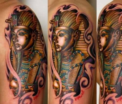 Innovative Upper Sleeve Cover Up With Brilliant Egyptian Tattoo