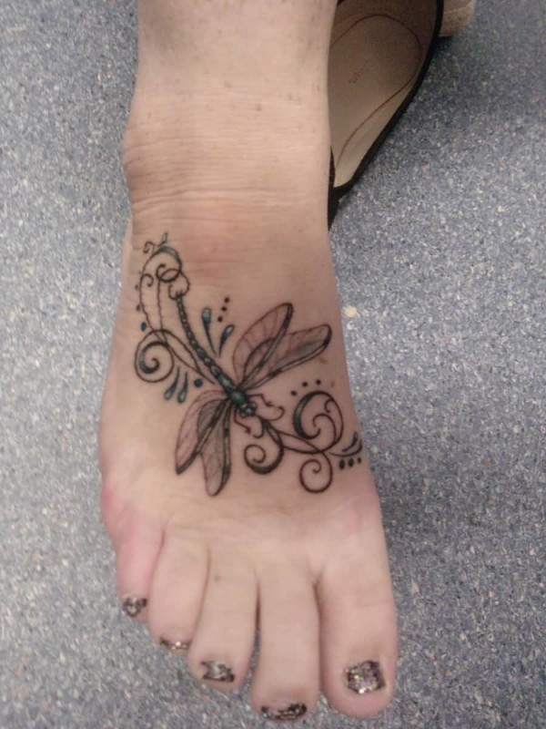 Latest Cool Dragonfly Tattoo Design Image Make On Women's Foot