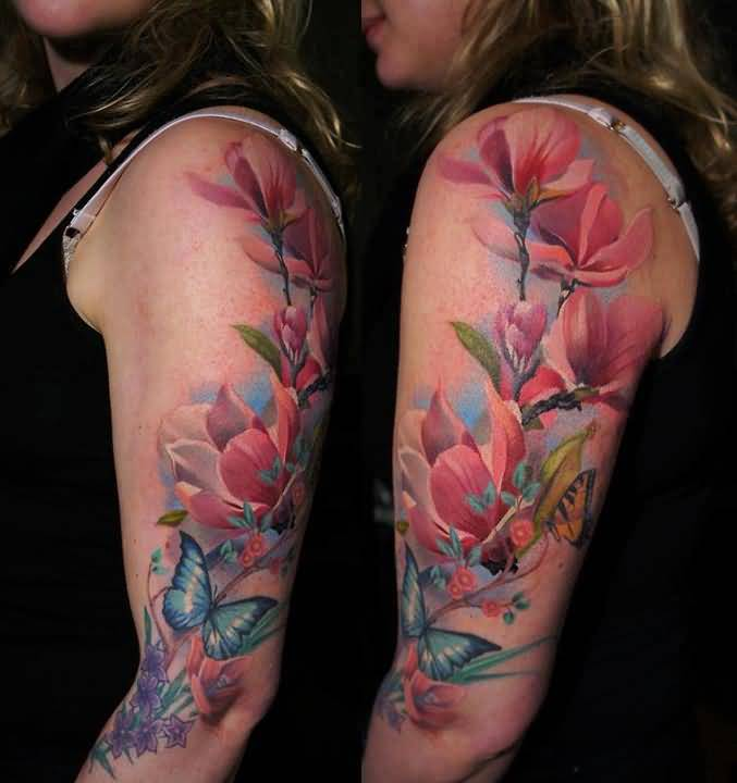 Latest New Floral Flowers Tattoo Design Image Make On Upper Sleeve