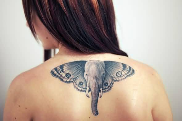 Lovely Butterfly Wings Elephant Tattoo Make On Upper Back For Women