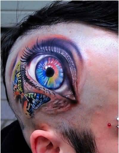 Lovely Colorful Butterfly And Ultimate Eye Tattoo Make On Back Head For Men