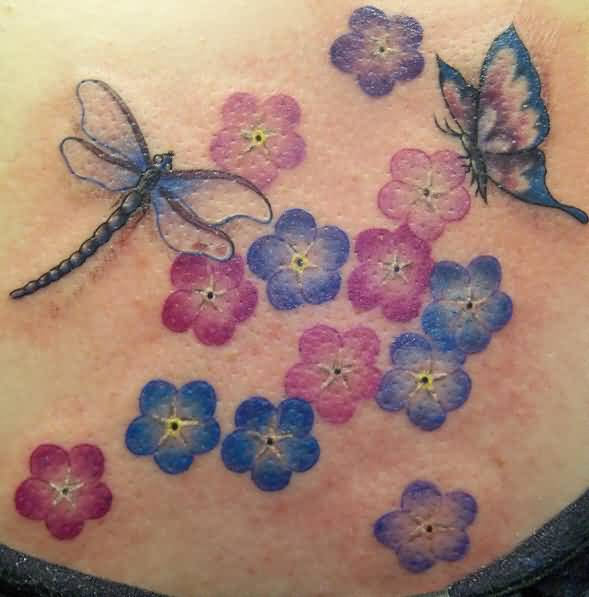 Lovely Colorful Flowers And Flying Butterfly And Dragonfly Tattoo