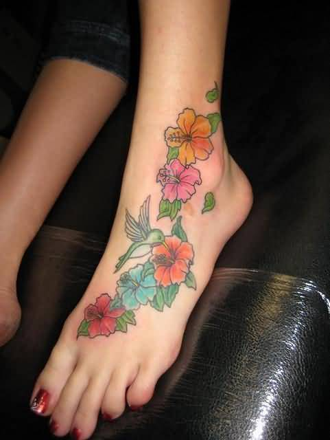 Lovely Colorful Flowers Tattoo Design Image Make On Women's Foot