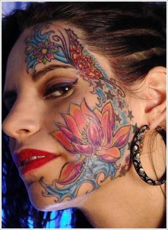 9d755e6ee Lovely Colorful Flowers Tattoo Design Make On Women's Face