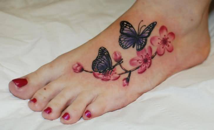 Lovely Flying Butterfly And Nice Flower Tattoo Design Image Make On Women's Foot