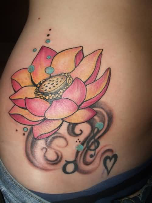 Lovely Nice Lotus Flower Tattoo Design With Black Music Notes And Small Heart