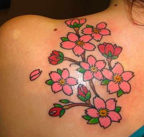 Lovely Nice Pink Floral Flowers Tattoo On Women's Upper Side Back