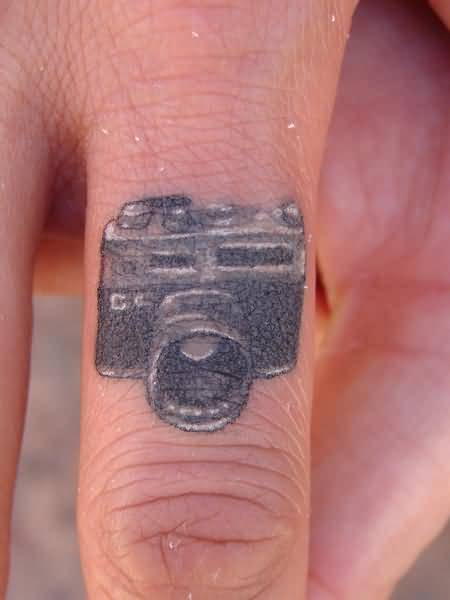 Lovely Nice Simple  Camera Tattoo Design Make On Finger