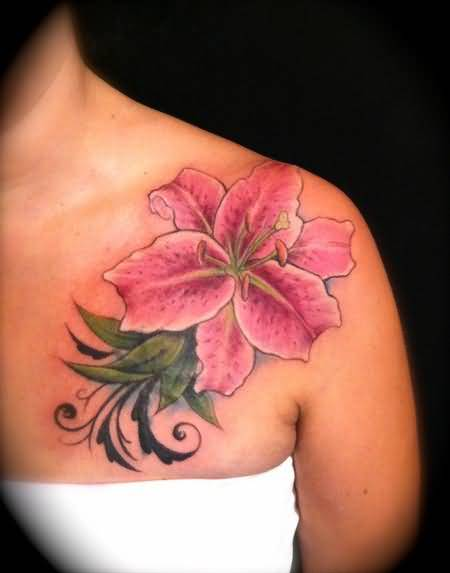 Lovely Pink Feminine Flower Tattoo Design For Hot Perfect Girl
