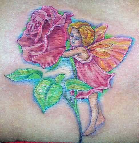 Lovely Pink Flower And Wing Sweet Baby Fantasy Fairy Tattoo