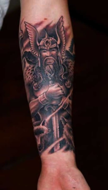 Lower Sleeve Cover Up With Outstanding Angry Fantasy Warrior Tattoo