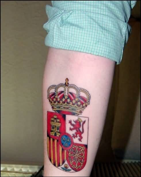 Lower Sleeve Decorated With Fabulous Family Crest  Tattoo