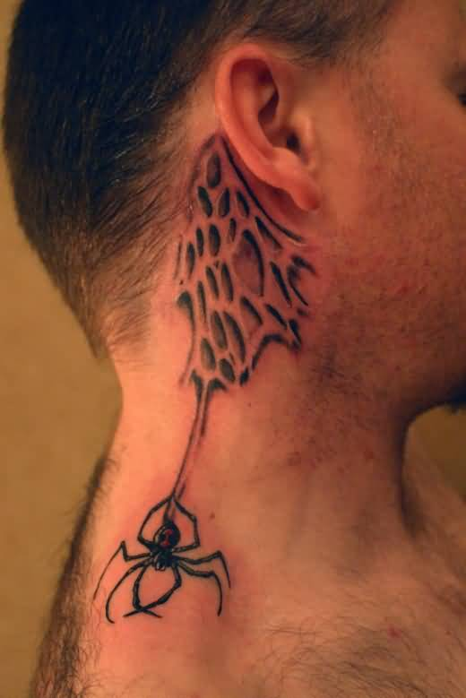 Men Behind Ear Cover Up With Fantastic Spider With Spider Web Tattoo