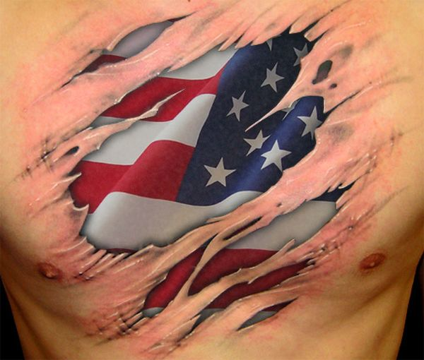 Men Chest Cover Up With Brilliant Ripped Skin Popular American Flag Tattoo