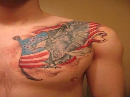 Men Chest Cover Up With Simple Eagle And Nice Flag Tattoo Design