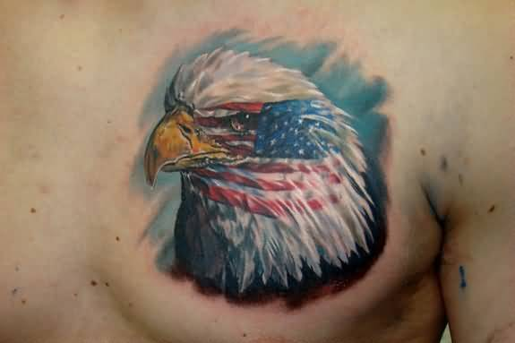 Men Chest Decorated With Outstanding Eagle Head Tattoo