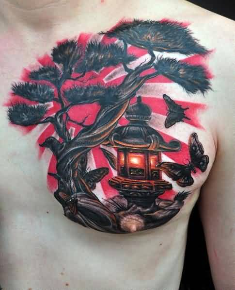 Men Chest Decorated With Outstanding Japenese Rising Flag Tattoo