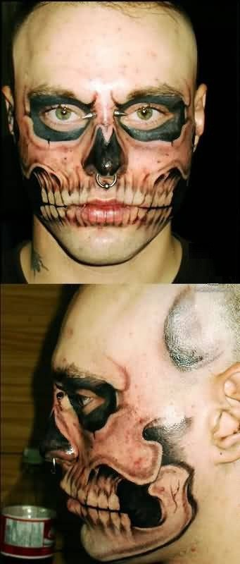 Men Face Tattoo Of Extreme Made By Perfect Artist
