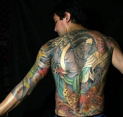 Men Full Back Cover Up With Outstanding Extreme Monster Face Tattoo