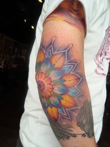 Men Show Nice Looking Colorful Flower Tattoo On Elbow