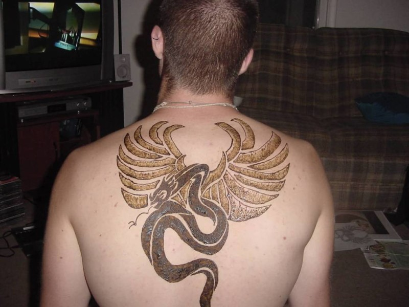 Men Upper Back Cover Up With Outstanding Extreme Tattoo Design