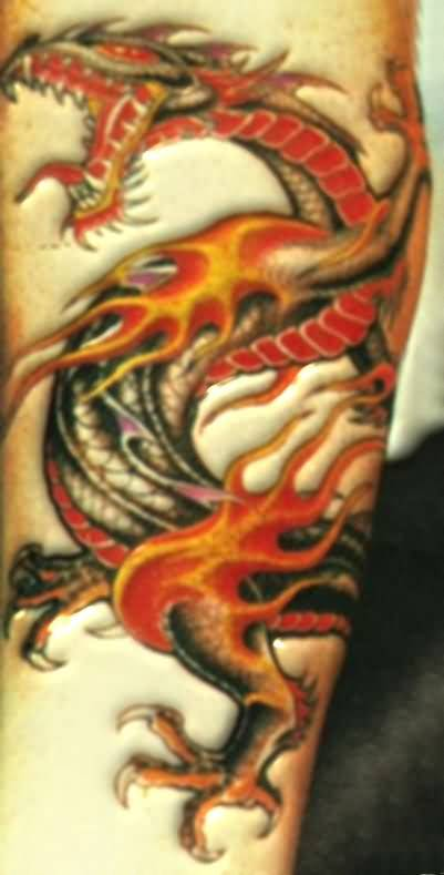 Mind Blowing Angry Open Mouth Flaming Dragon Tattoo